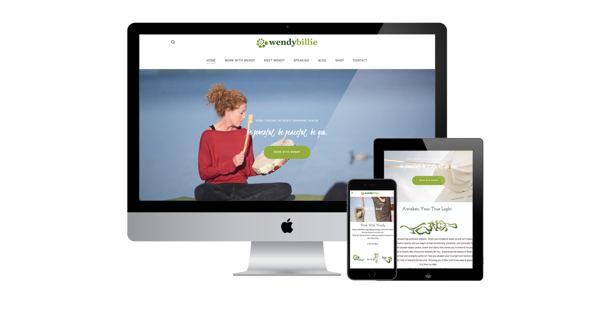 wendy billie yoga website design by Zab consulting